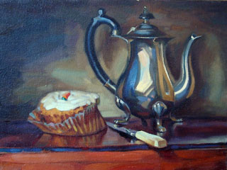 <em>Carrot Cake</em>, oil on canvas, 30x40cm
