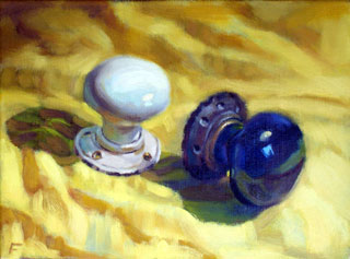 <em>Door Knobs</em>, oil on canvas, 22x30cm