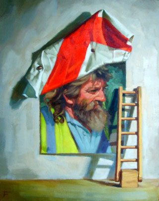 <em>English Workman</em>, oil on canvas, 49x40cm