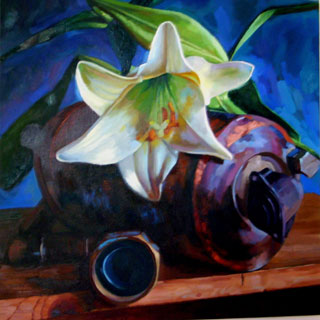 <em>Lily, Metal</em>, oil on canvas, 50x60cm