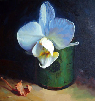 <em>Orchid</em>, oil on canvas, 40x40cm