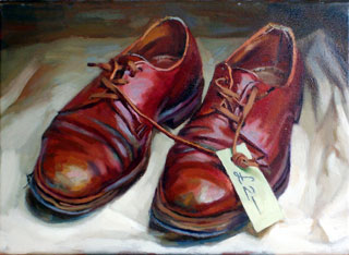 <em>Shoes</em>, oil on canvas, 30x40cm