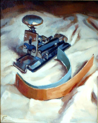 <em>Stapler</em>, oil on board, 26x36cm