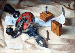 <em>The Invention of Music</em>, oil on canvas, 30x40cm